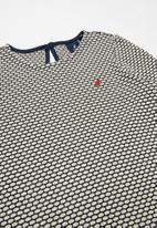 POLO - Long sleeve textured knit dress - navy