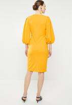 edit - Lantern sleeve dress - yellow