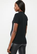 Cotton On - Maternity lettuce edge mock neck short sleeve top - black