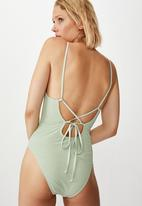 Cotton On - Crinkle one piece cheeky - sage crinkle