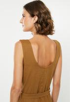 edit - Linen button through midi dress - brown