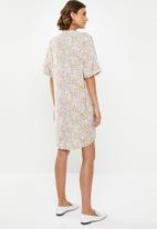 edit - Pleat front shift dress - multi