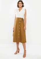 edit - Button down linen skirt - tan
