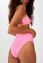 Cotton On - Highwaisted banded cheeky bikini bottom - pink