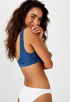 Cotton On - Cut out crop bikini top - marina blue