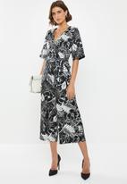 edit - Satin wrap jumpsuit - black & white