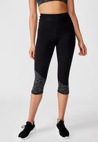 Cotton On - Panelled hem capri tights - black