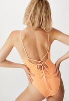 Cotton On - Crinkle one piece cheeky - peach