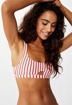 Cotton On - Cut out crop bikini top - red & white