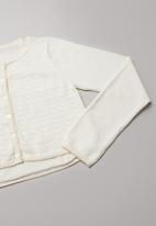 Rebel Republic - Girls fine knit organic cotton cardigan -   white