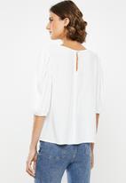 edit - Boxy blouse round neck - white
