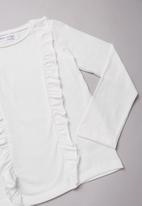 MINOTI - Teens frilled long sleeve top - white