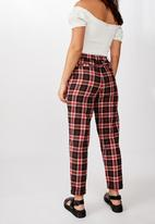 Factorie - Tapered leg check pants kali check - red