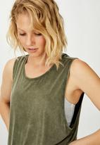 Cotton On - Cropped keyhole washed tank top - khaki