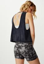 Cotton On - Cropped keyhole washed tank top - navy