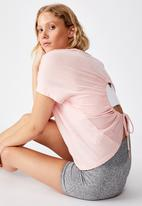 Cotton On - Drop sleeve tie back T-shirt soft cameo - pink