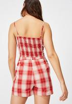 Factorie - Fitted mini shorts bailey check - red
