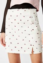 Factorie - Double split mini skirt rose posie - white