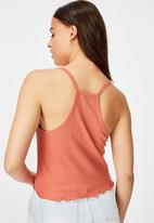 Factorie - Textured henley racer back singlet2 - spiced coral