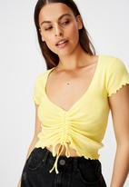 Factorie - Short sleeve pull front rib top - lemon meringue