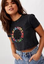 Factorie - Lcn fitted graphic T-shirt red hot chilli peppers - washed black