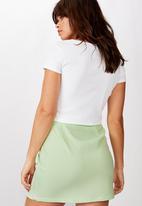 Factorie - Double split mini skirt sunny lime - gingham
