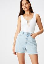Factorie - Ladder detail crop tank top - white