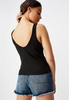Factorie - Ladder detail crop tank top - black