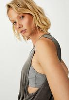 Cotton On - Cropped keyhole washed tank top - charcoal