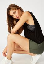Cotton On - Cropped keyhole washed tank top - black