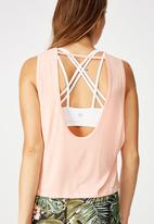 Cotton On - Cropped keyhole washed tank top - pink