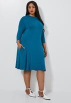 Superbalist - Ballerina sleeve pocket dress - blue