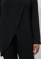 Superbalist - 3/4 Sleeve mock wrap top - black