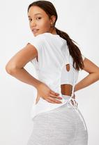 Cotton On - Drop sleeve tie back T-shirt soft cameo - white