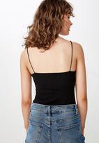 Cotton On - Carissa straight back bodysuit - black