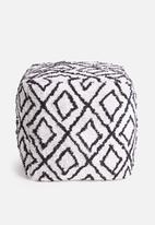 Sixth Floor - Soft ottoman - white & black
