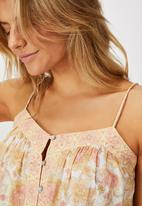 Cotton On - Day dreamer button front cami - floral/apricot