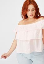 Cotton On - Curve sushine off the shoulder top - icy froze