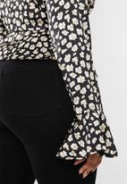 Missguided - Curve irregular animal print button peplum top - multi