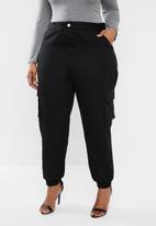 Missguided - Plus size stripe cargo trousers - black