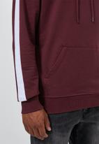 Superbalist - Side stripe pullover sweat hoodie - burgundy