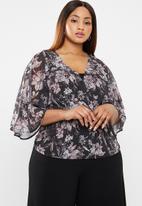 edit Plus - Peplum wrap blouse - multi