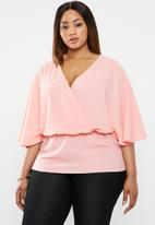 edit Plus - Peplum wrap blouse - pink