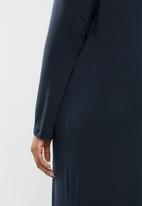 edit Plus - Inverted pleat maxi dress - navy