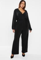 edit Plus - Tie detail jumpsuit - black
