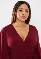 edit Plus - Tie detail jumpsuit - burgundy