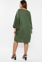 edit Plus - Volume sleeve linen dress - khaki