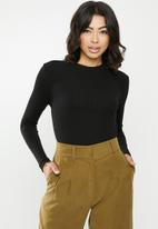 Missguided - Long sleeve crew neck ribbed top - black