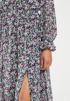 Missguided - Floral tie front keyhole midi dress - multi
