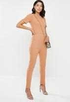 Missguided - Rib pocket jumpsuit - brown